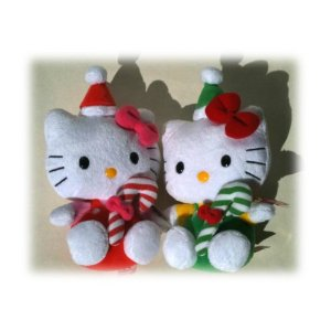 Hello Kitty Christmas TY Beanie Baby soft plush toy hanging ornament for Christmas tree decoration