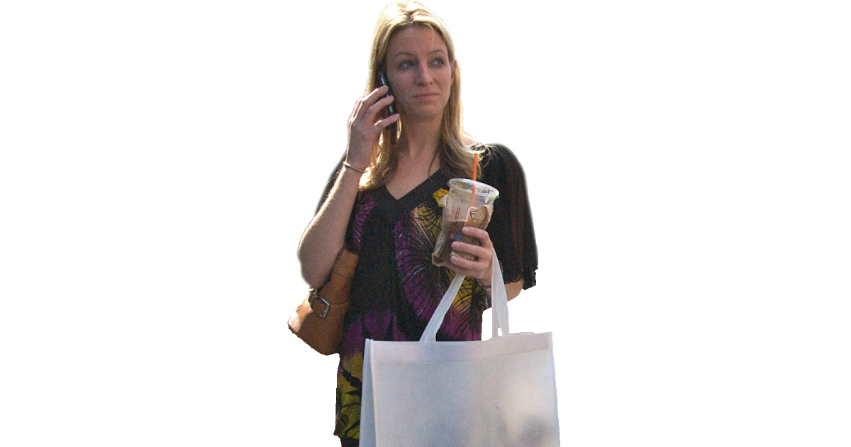 Immediate Entourage: Woman with Cell Phone and Coffee