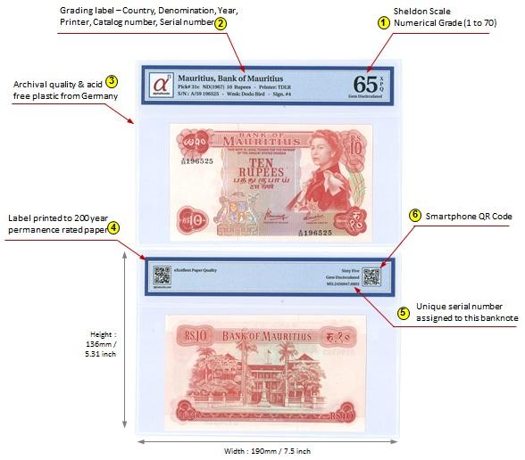alphaNumis Graded Banknote - Mauritius 10 Rupees 1967