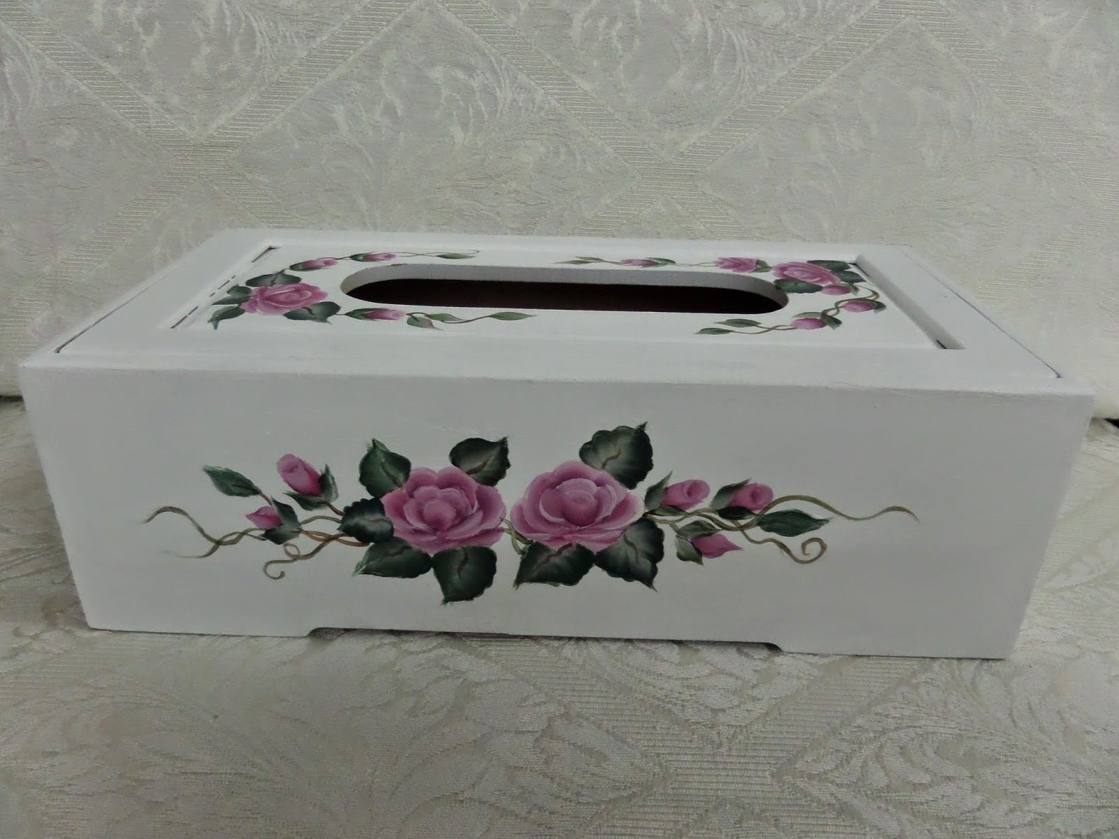 Superb First Of All, I Would Like To Share My Wooden Tissue Box And Wooden Photo  Frame With You. I Have Painted White Colour Base And Roses On Both Of The  Items ...