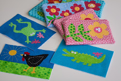 Appliqued Zippered Pouches