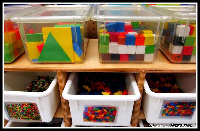 photo of: Kindergarten Organization of Math Materials via RainbowsWithinReach