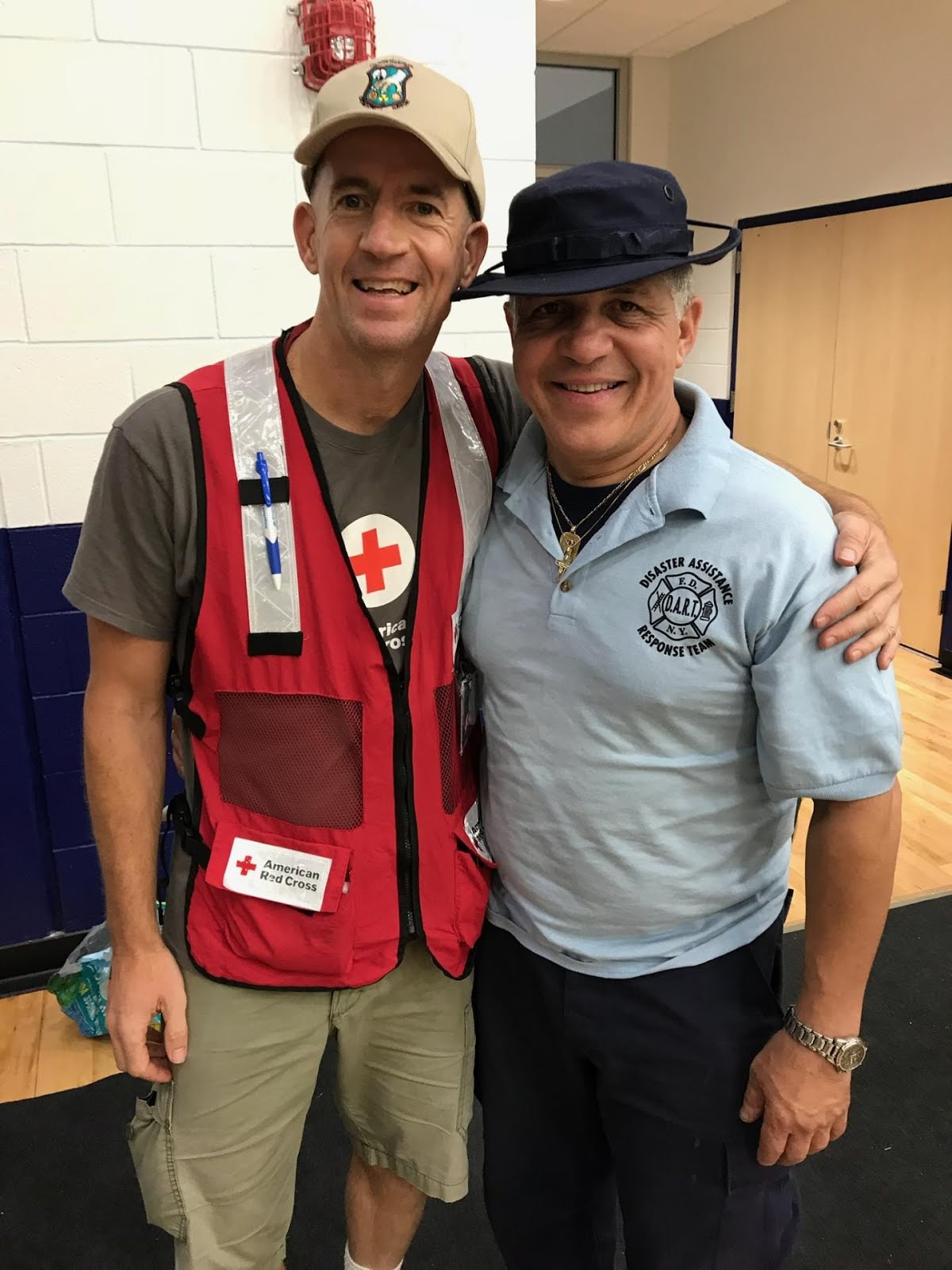 Thomas Q Kimball of Ridgefield, Connecticut with Lt. Ricco Diaz, of the FDNY DART