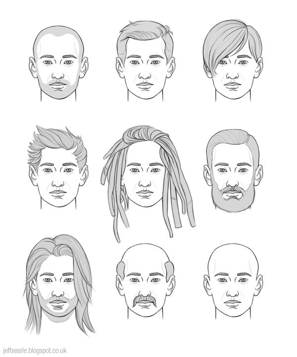 Hairstyle Drawings : Jeff Searle: Drawing hair