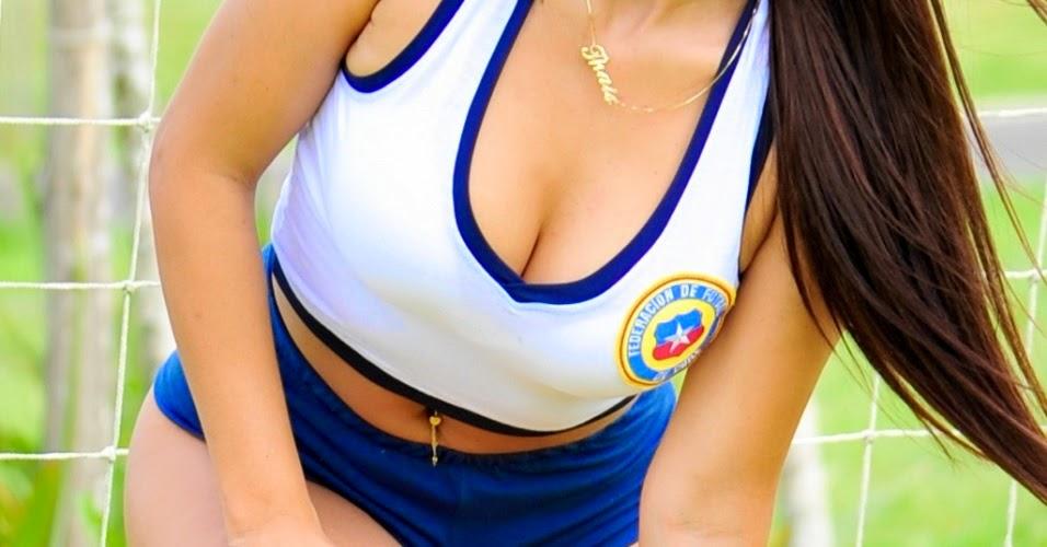Thais Dorneles  nas cores da Seleção Chilena de Futebol - Belas do Mundial (2014)