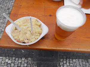 """Local Czech cuisine""""Harlusky"""" in Old Town Square of Prague."""