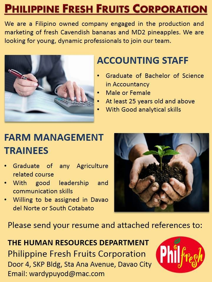 Philippine Fresh Fruits Corporation is Hiring -  Accounting Staff, Farm Management Trainees