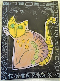 Laurel Burch Cat Art Project for kids, 1st grade laurel burch project