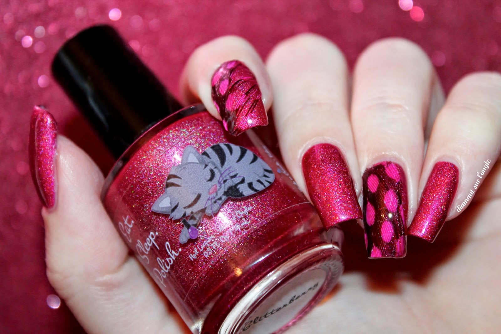 "Feather nail art with ""Glitterberry"" by Eat.Sleep.Polish."