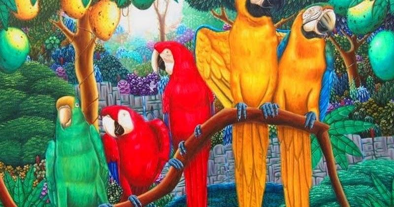 Im genes arte pinturas oleo con guacamayos cuadros de for Pintor y muralista colombiano