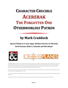 Character Crubible: Acererak Warlock Patron for 5E