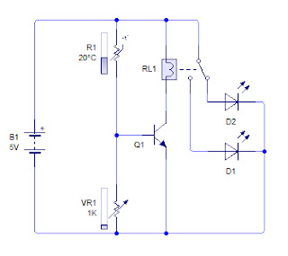 Rangkaian sensor suhu | Sensor suhu dengan Thermistor