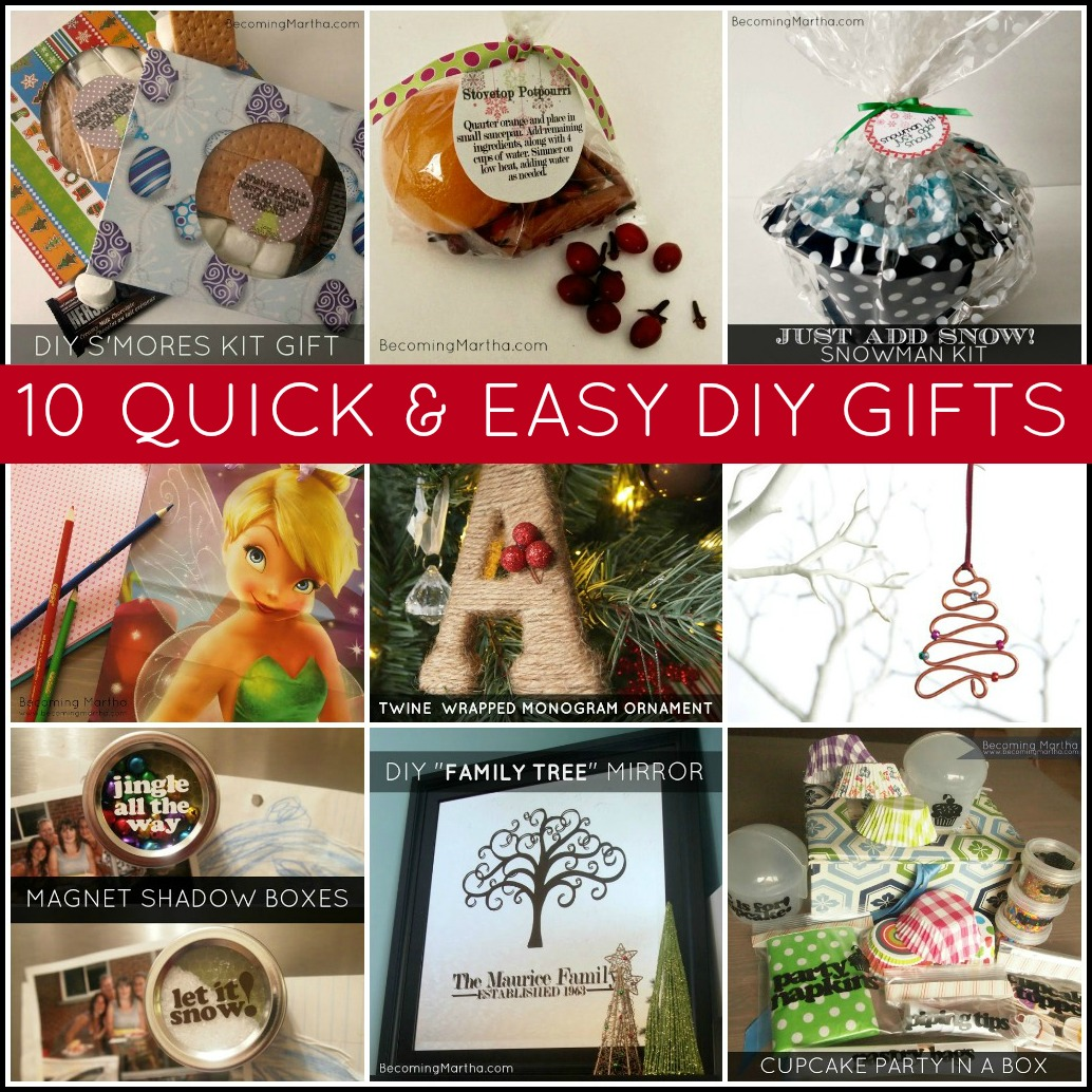 10 Quick and Easy Last Minute DIY Gifts - Becoming Martha