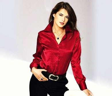 Women'S Red Satin Blouse 117
