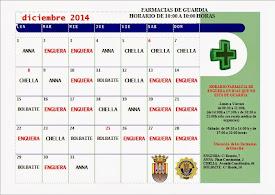 FARMACIAS DE GUARDIA DICIEMBRE 2014