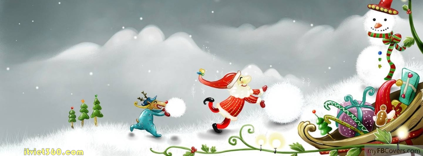 merry christmas snowman cartoon fb cover