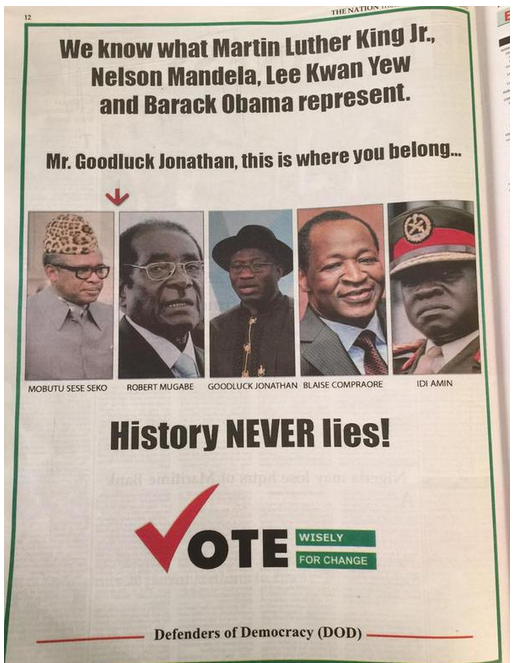 apc attack jonathan ad newspaper