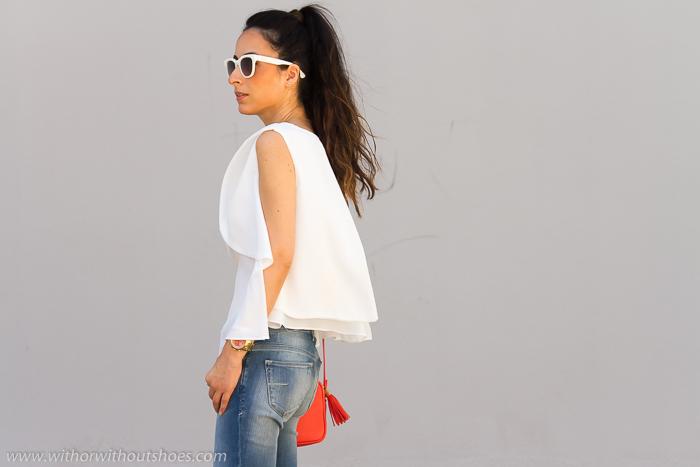 Blogger valenciana con top de capas blanco