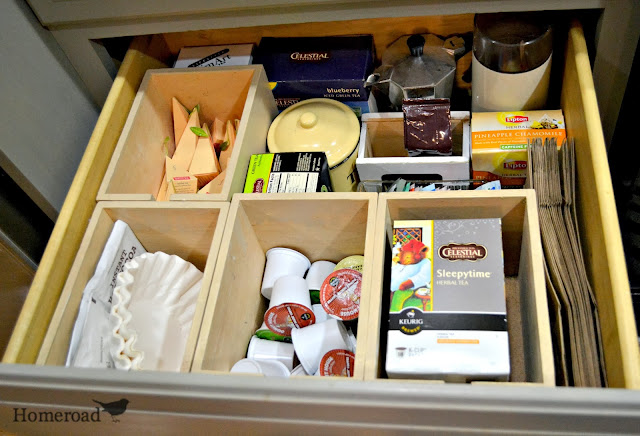 Homeroad organized coffee station - Ikea desk drawer organizer ...