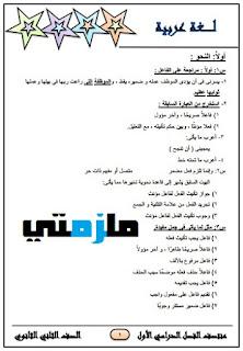 مراجعة لغة عربية للصف الثاني الثانوى ترم اول