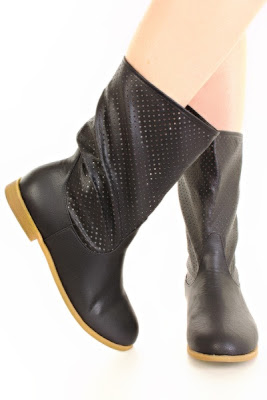Black Lightweight Mid Calf Flat Perforated Boot
