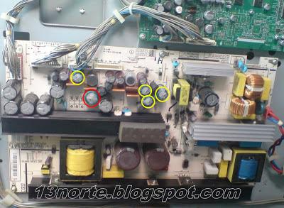 Fuente de 42LC3R-MH con capacitores inflados