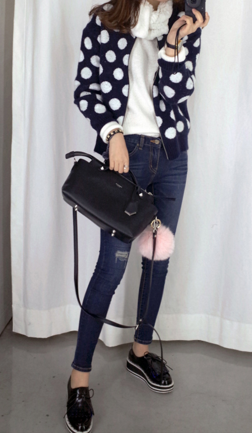 Dotted Zip Front Cardigan