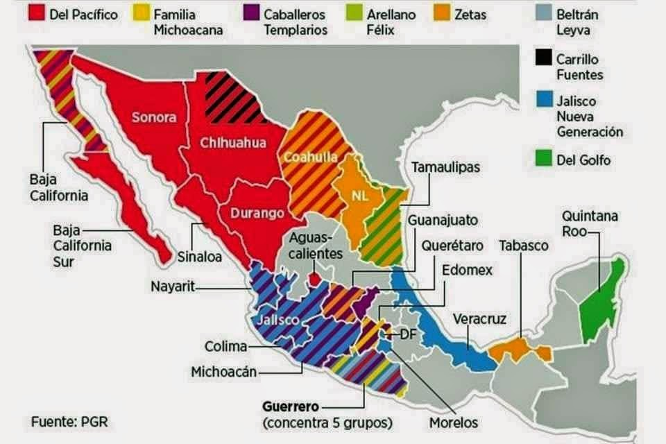 Map of mexican drug cartel activity
