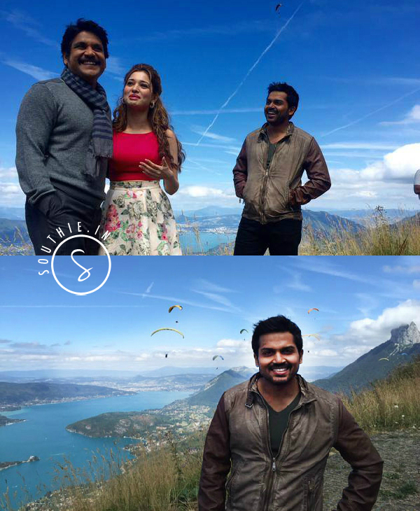 Nagarjuna, Karthi and Tamannah enjoying the beautiful locations.Anushka to play a special role in Nagarjuna and Karthi film. Oopiri, Nagarjuna-Karthi Multistarrer titled Oopiri. Nagarjuna, Karthi, Tamannah