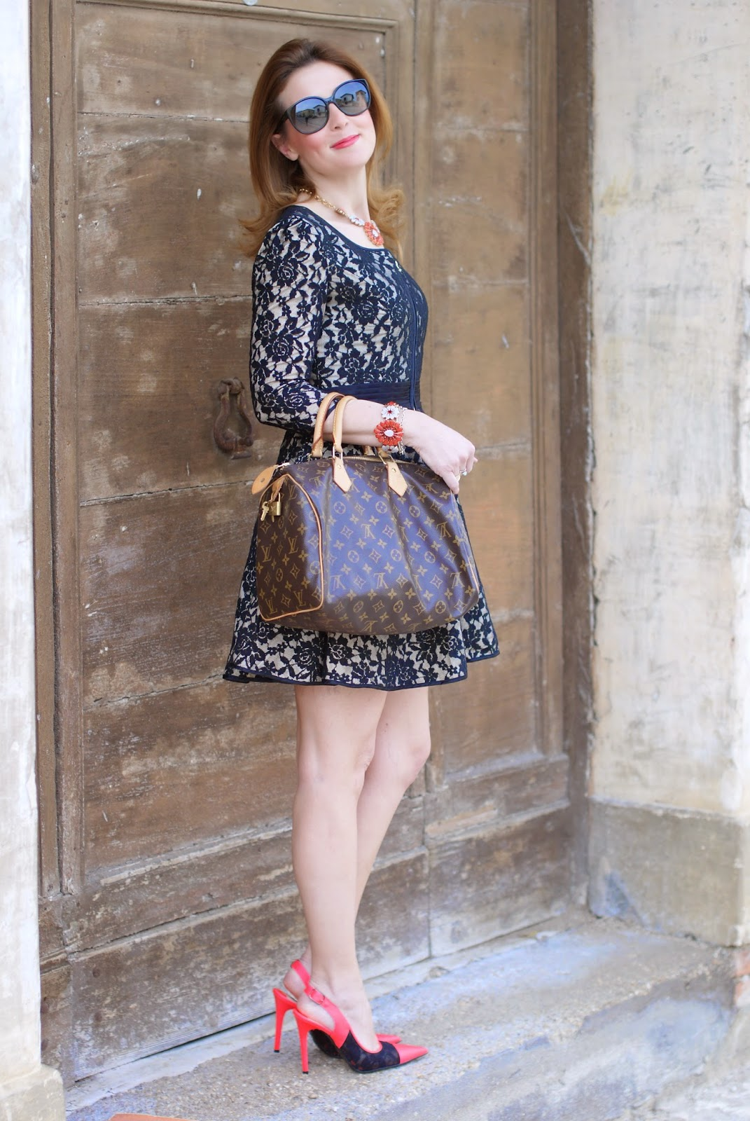 Blackfive black lace dress, cap toe pumps, Louis Vuitton Speedy bag, Daniel Wellington watch, Fashion and Cookies, fashion blogger