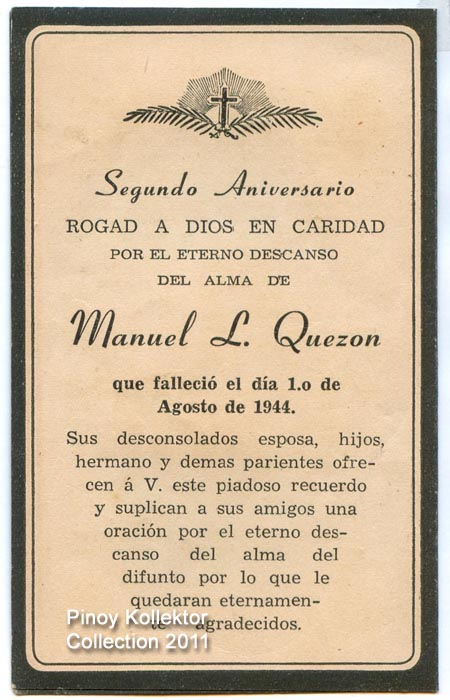 Pinoy kollektor 56 quezoniana collection pres manuel l quezon mass card for the death anniversary of pres manuel l quezon on august 1944 stopboris Choice Image