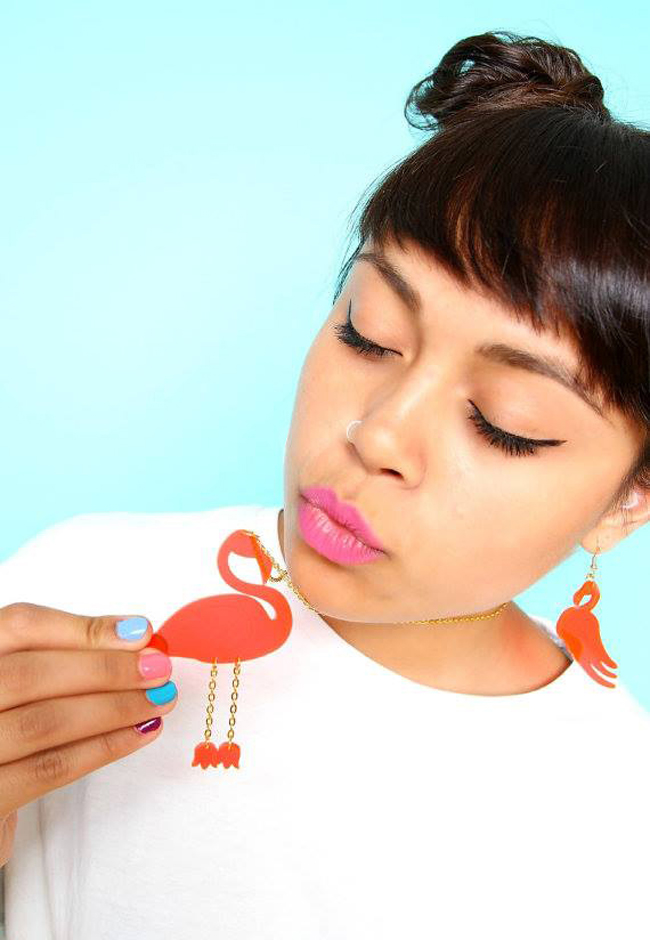 I love crafty, flamingo necklace, neon pink flamingo