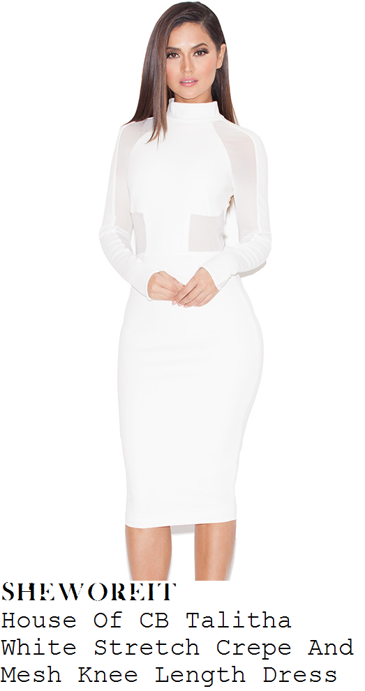 chloe-sims-white-mesh-panel-long-sleeve-high-neck-bodycon-pencil-dress