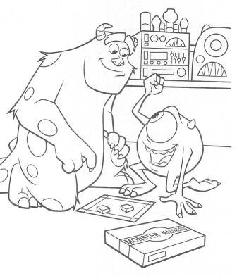 monster inc coloring page - aprende brincando pintar monstros