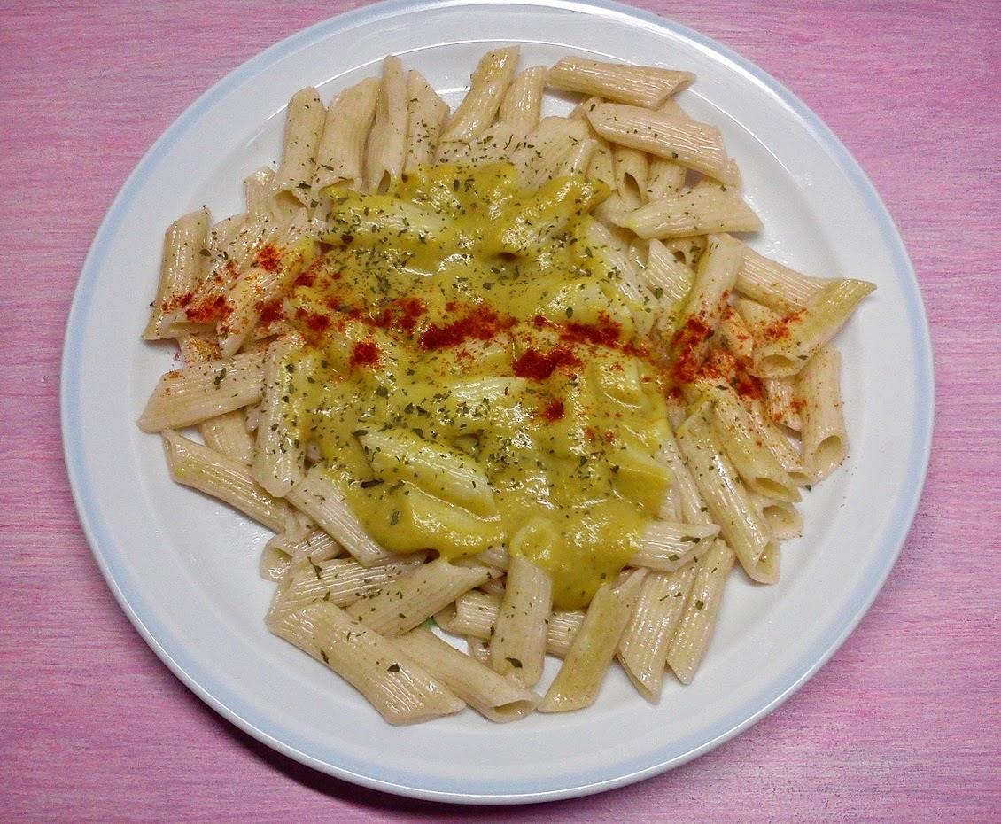 Pasta Integral con Salsa de Berenjena al Curry y toque de Pimenton Ahumado