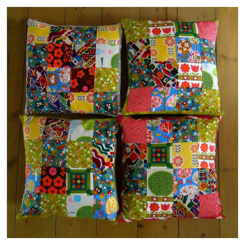 Patchwork from remnants, colourful and cheery!