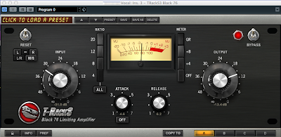 T-RackS Black 76 Limiting Amplifierの設定例 / ゲインリダクション5dbを目安に