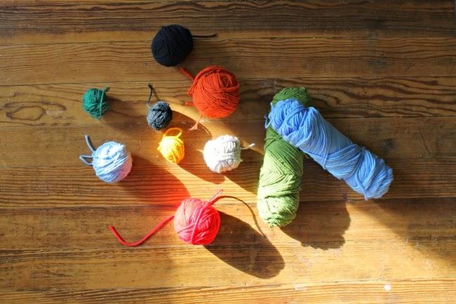 balls of colorful vintage yarn