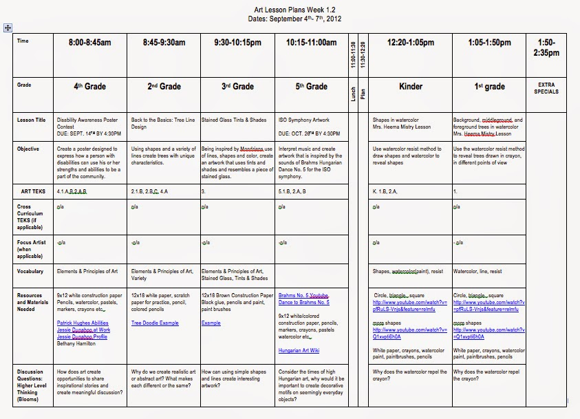 teks lesson plan template