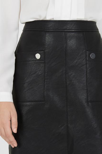 popper leather skirt, above knee leather skirt,