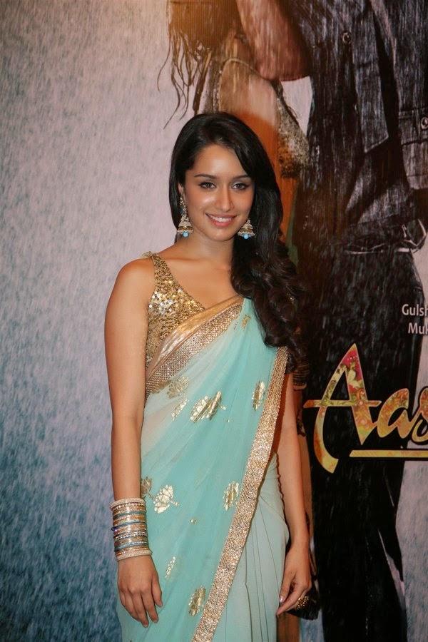 Bollywood Actress Shraddha Kapoor Wore Simple Aqua Saree With A Sequin Blouse Stills