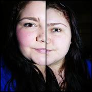 Ich hoffe man erkennt, das links geschminkt ist und rechts ungeschminkt