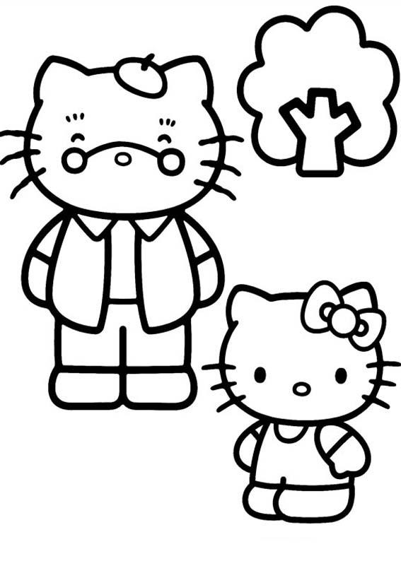 a desenhar Familia Hello Kitty colorir