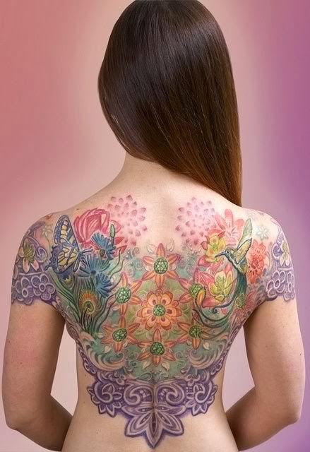 Handsome back tattoo pattern by Michele Wortman.