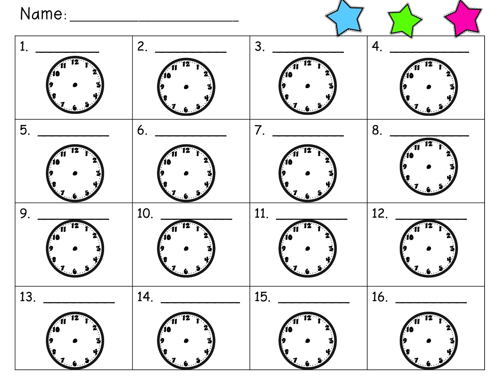 Worksheets for 2nd Grade Telling Time to Hour