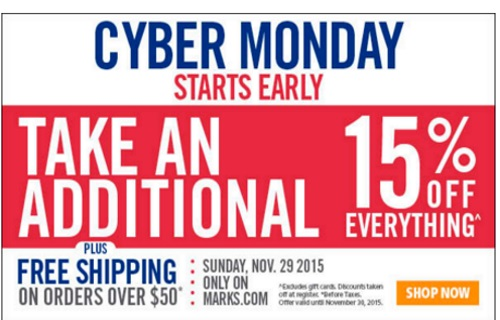 Mark's Cyber Monday Extra 15% off Everything