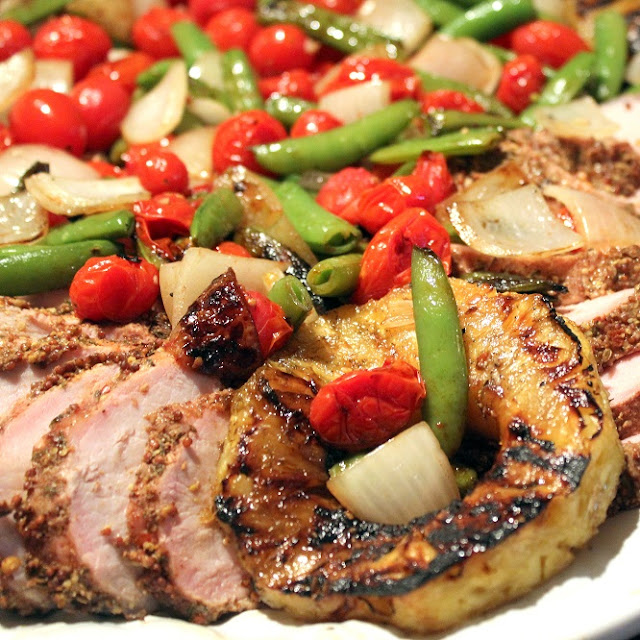 smoked pork loin with grilled cherry tomatoes and snow peas - grilling time