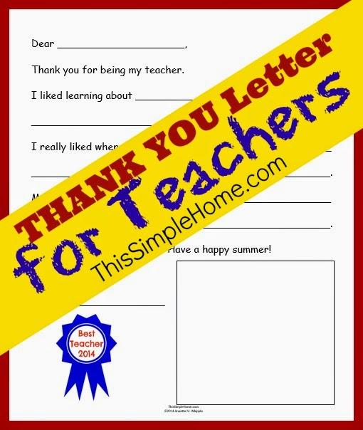 This simple home teacher thank you letter free printable print teacher thank you letter 2014 expocarfo