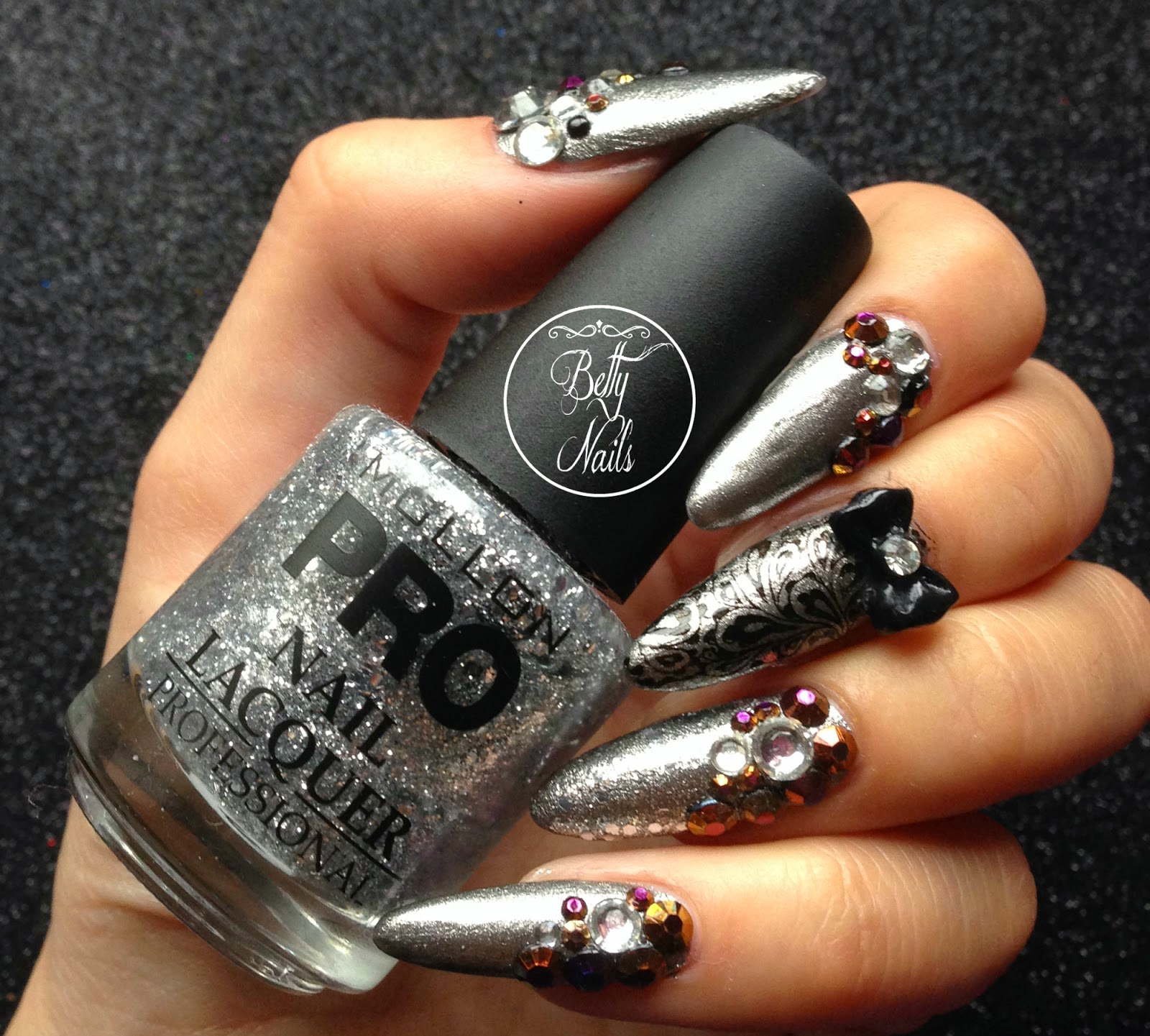 betty nails silver christmas nailart bling opi mollonpro