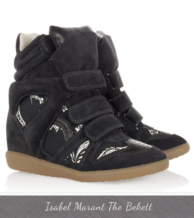 Isabel Marant Wedge Sneakers The Bekett Navy Blue and White